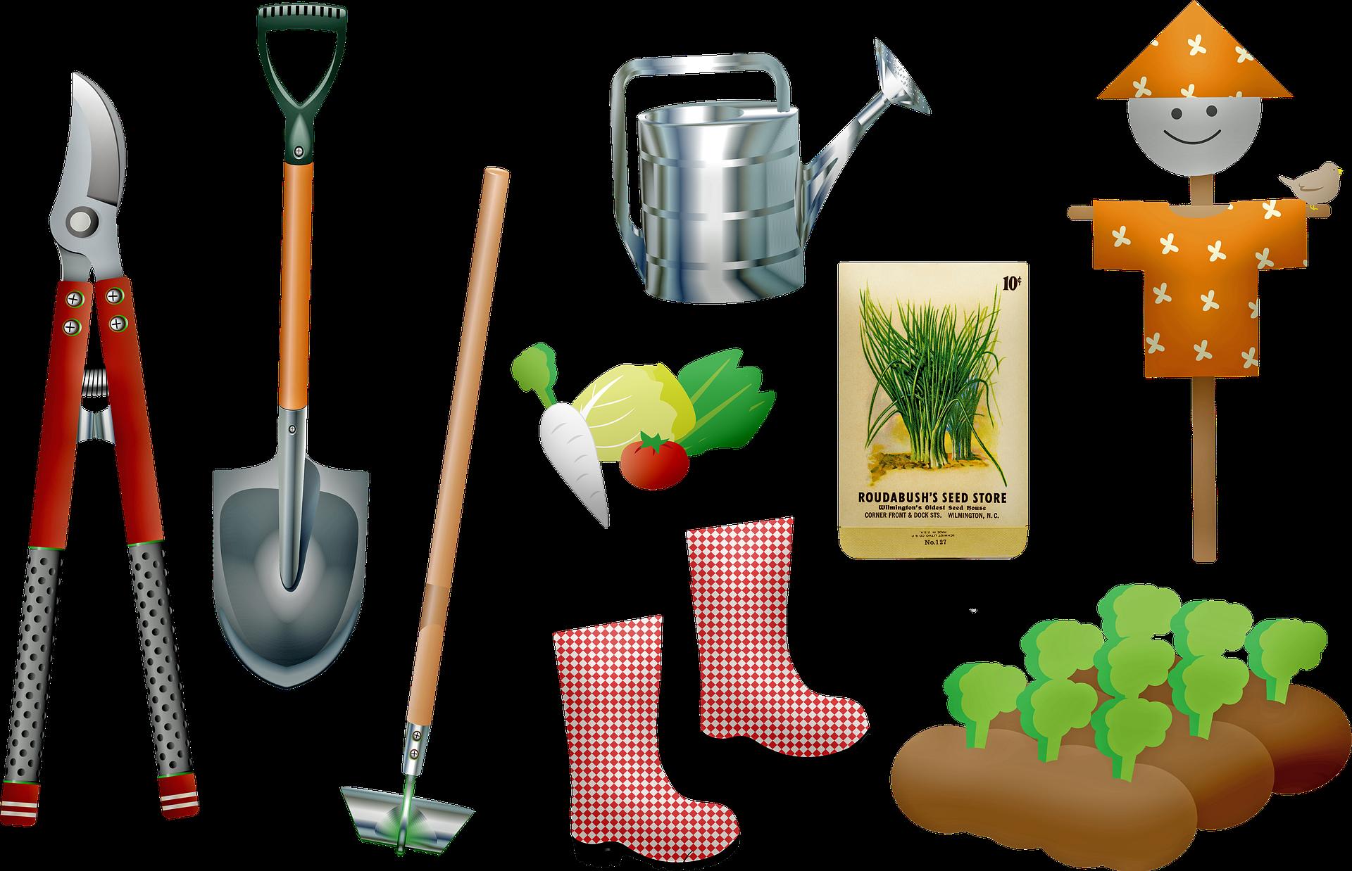 Outils de jardinage bien rangés