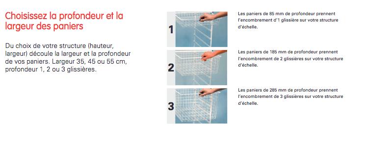 Choix des paniers pour système panier Elfa